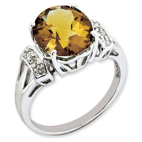 4.55 ct Sterling Silver Whiskey Quartz and Diamond Ring
