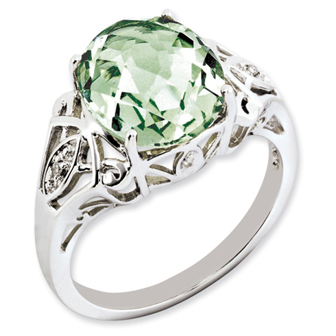 Sterling Silver 4.55 ct Oval Green Quartz and Diamond Ring