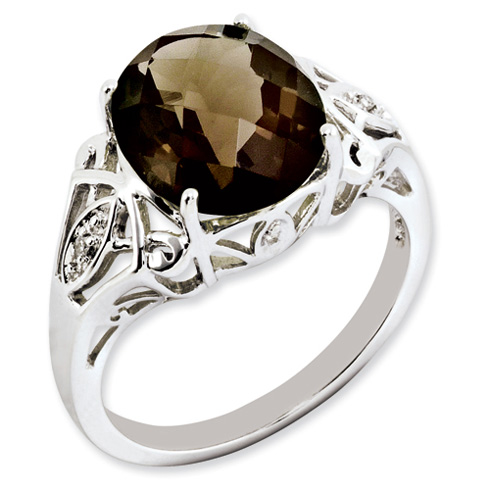 4.55 ct Sterling Silver Smokey Quartz and Diamond Ring