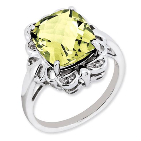 5.45 ct Sterling Silver Lemon Quartz and Diamond Ring
