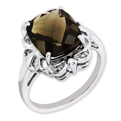 Sterling Silver 5.45 ct Smoky Quartz Ring with .02 ct Diamond Accents