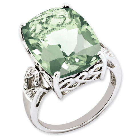 14.1 ct Sterling Silver Green Quartz and Diamond Ring
