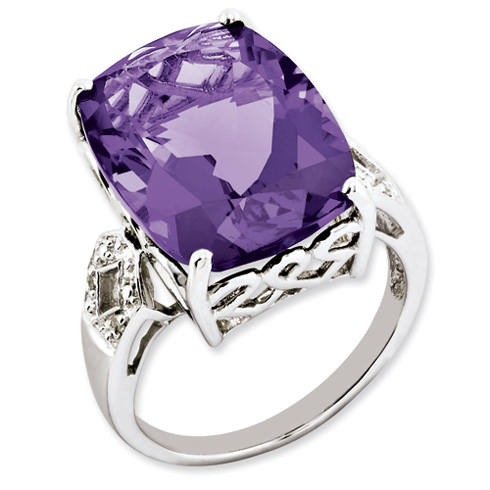 14.1 ct Sterling Silver Amethyst and Diamond Ring