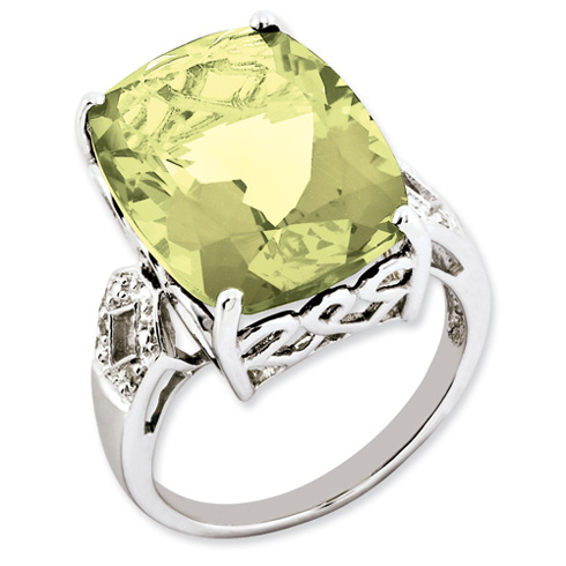 Sterling Silver 14.1 ct Lemon Quartz and Diamond Ring
