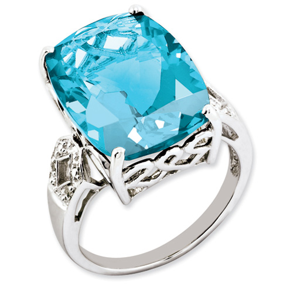 Sterling Silver 22.4 ct Light Swiss Blue Topaz Diamond Ring