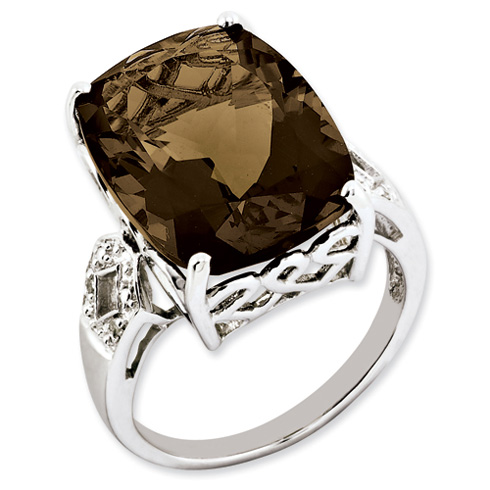 14.1 ct Sterling Silver Smokey Quartz and Diamond Ring