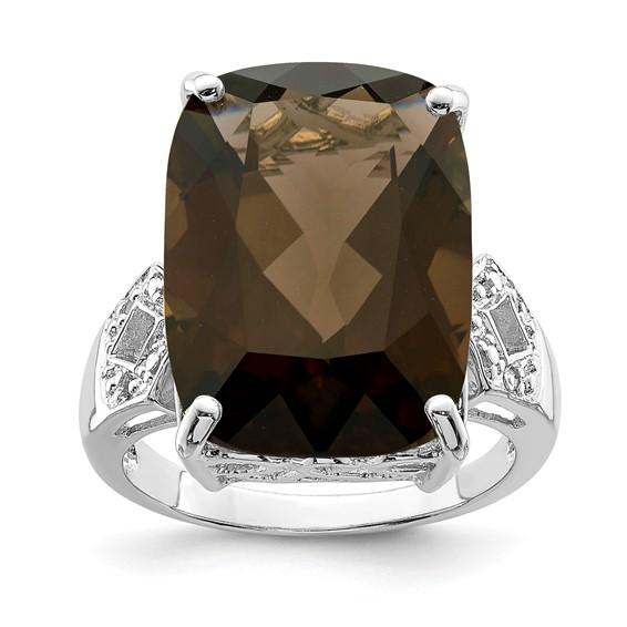 14.1 ct Sterling Silver Smokey Quartz and Diamond Ring