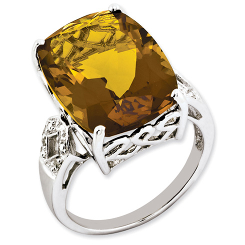 14.1 ct Sterling Silver Whiskey Quartz and Diamond Ring