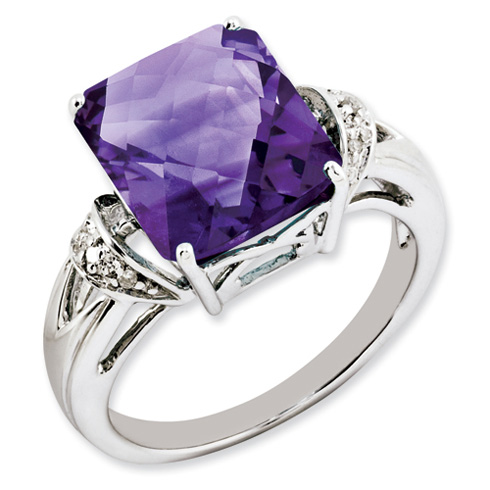 5.6 ct Sterling Silver Amethyst and Diamond Ring
