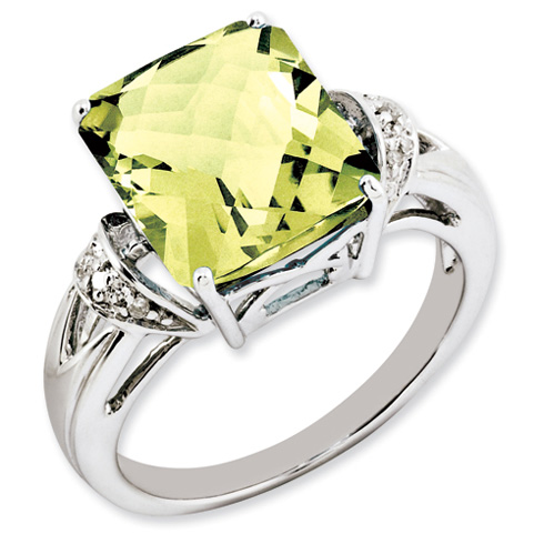 5.45 ct Sterling Silver Lemon Quartz and Diamond Ring