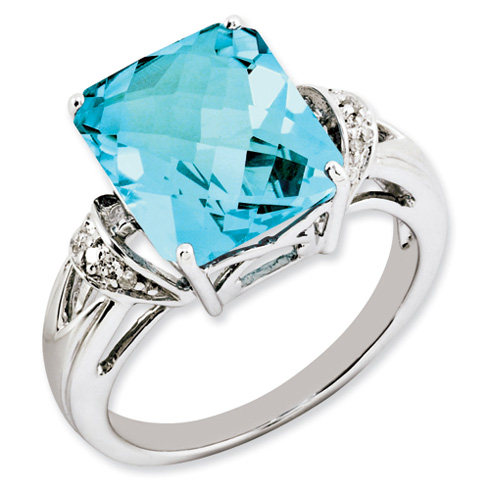 7.5 ct Sterling Silver Light Swiss Blue Topaz and Diamond Ring