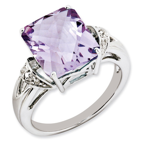 Sterling Silver 5.45 ct Pink Quartz and Diamond Ring