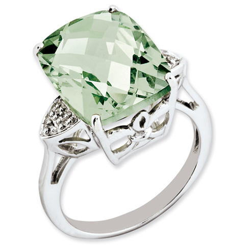 10.7 ct Sterling Silver Green Quartz and Diamond Ring
