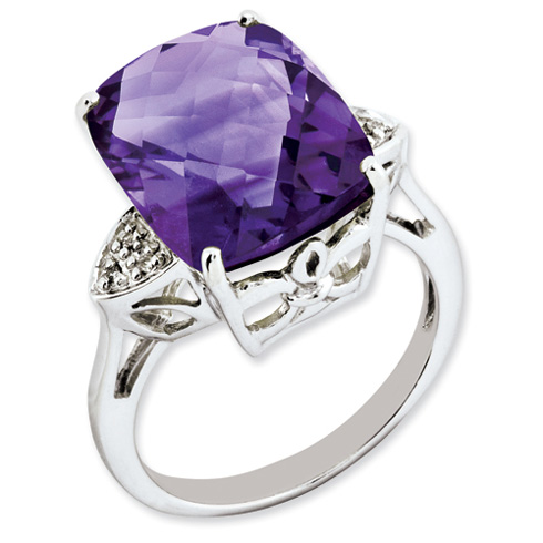 10.2 ct Sterling Silver Amethyst and Diamond Ring