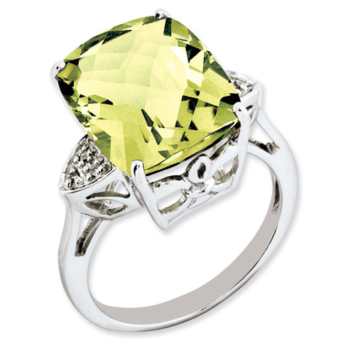 10.7 ct Sterling Silver Lemon Quartz and Diamond Ring