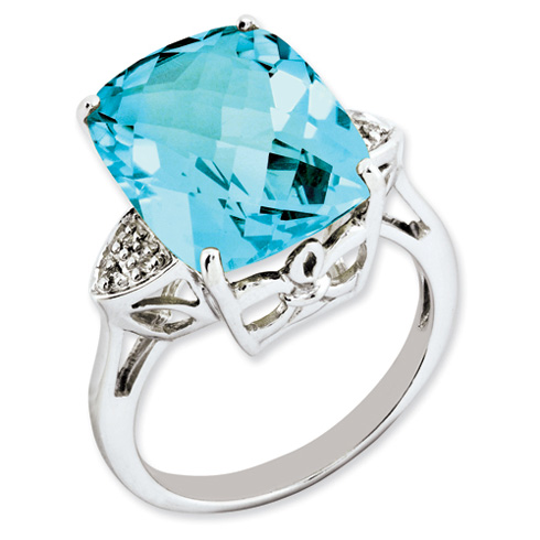 14.55 ct Sterling Silver Light Swiss Blue Topaz and Diamond Ring