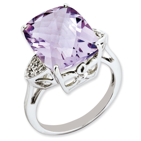 10.7 ct Sterling Silver Pink Quartz and Diamond Ring