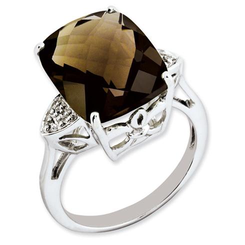10.7 ct Sterling Silver Smokey Quartz and Diamond Ring