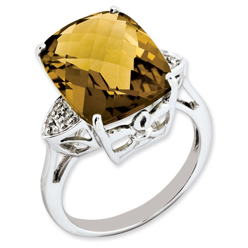 10.7 ct Sterling Silver Whiskey Quartz and Diamond Ring
