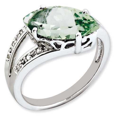 2.5 ct Sterling Silver Green Quartz and Diamond Ring