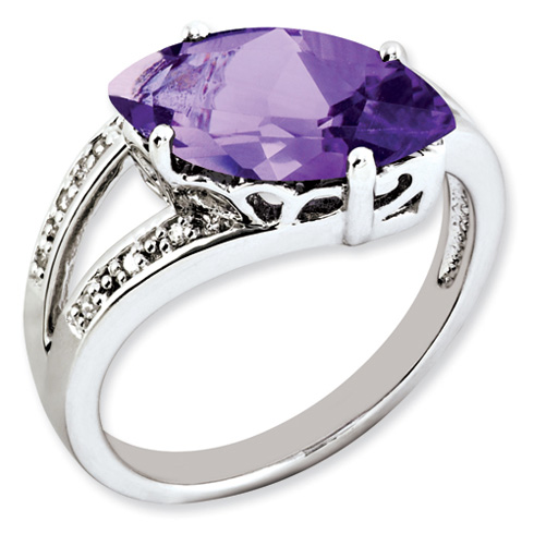 2.75 ct Sterling Silver Amethyst and Diamond Ring