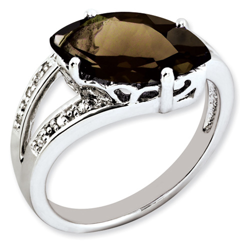 2.75 ct Sterling Silver Smokey Quartz and Diamond Ring