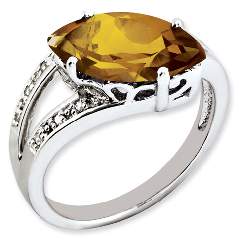2.75 ct Sterling Silver Whiskey Quartz and Diamond Ring