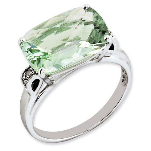 6.55 ct Sterling Silver Green Quartz and Diamond Ring
