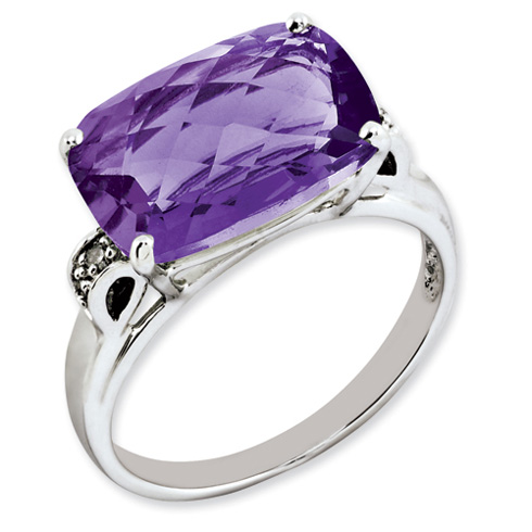 6.25 ct Sterling Silver Amethyst and Diamond Ring