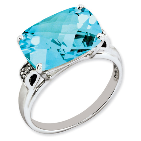 7.15 ct Sterling Silver Light Swiss Blue Topaz and Diamond Ring