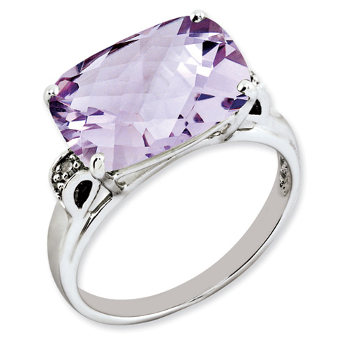 6.55 ct Sterling Silver Pink Quartz and Diamond Ring
