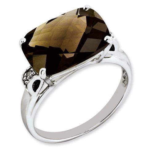 6.55 ct Sterling Silver Smokey Quartz and Diamond Ring