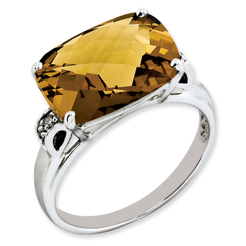 6.55 ct Sterling Silver Whiskey Quartz and Diamond Ring