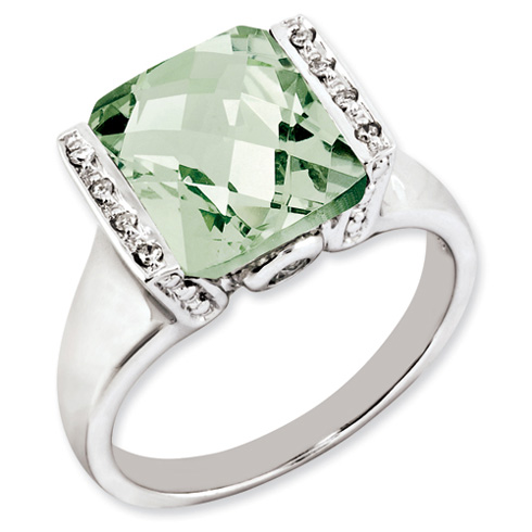 4.05 ct Sterling Silver Green Quartz and Diamond Ring