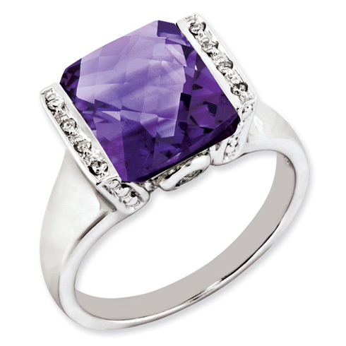Sterling Silver 4.25 ct Checkerboard Amethyst Ring with Diamonds