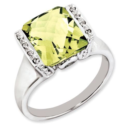 Sterling Silver 4.05 ct Lemon Quartz Ring with Diamonds