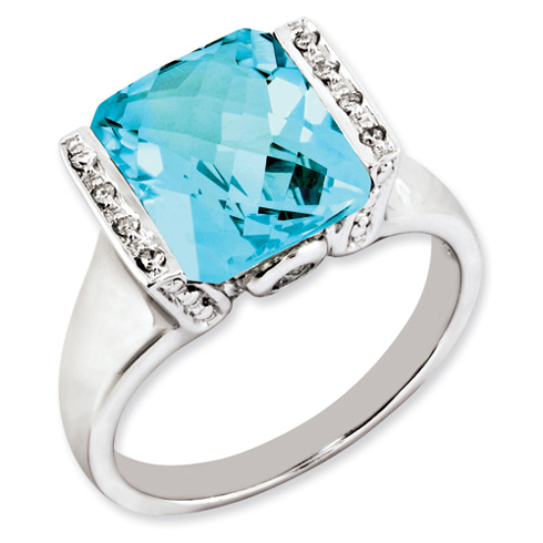 5 ct Sterling Silver Light Swiss Blue Topaz Diamond Ring