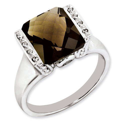 4.05 ct Sterling Silver Smokey Quartz and Diamond Ring