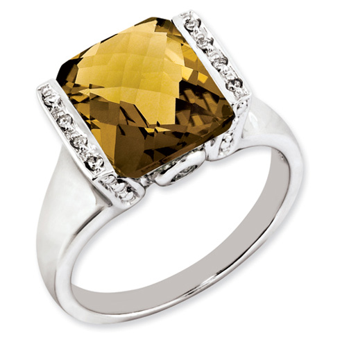 4.05 ct Sterling Silver Whiskey Quartz and Diamond Ring
