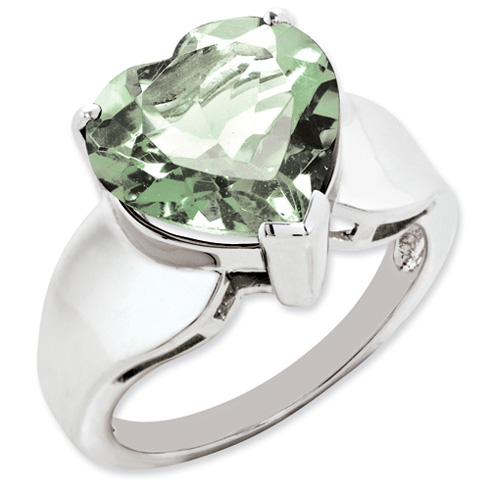 5.25 ct Sterling Silver Green Quartz Ring