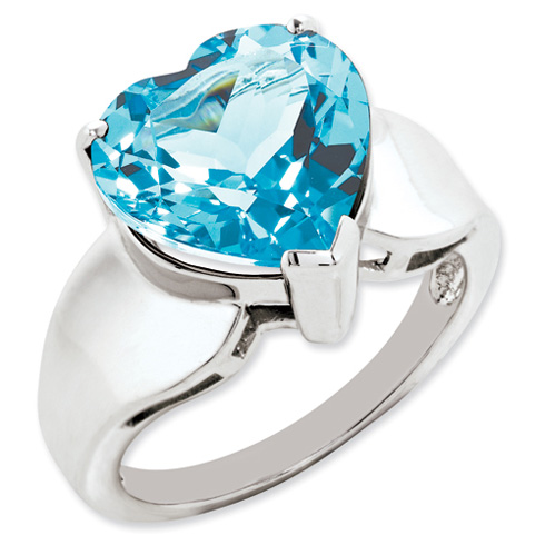 7.5 ct Sterling Silver Light Swiss Blue Topaz Ring