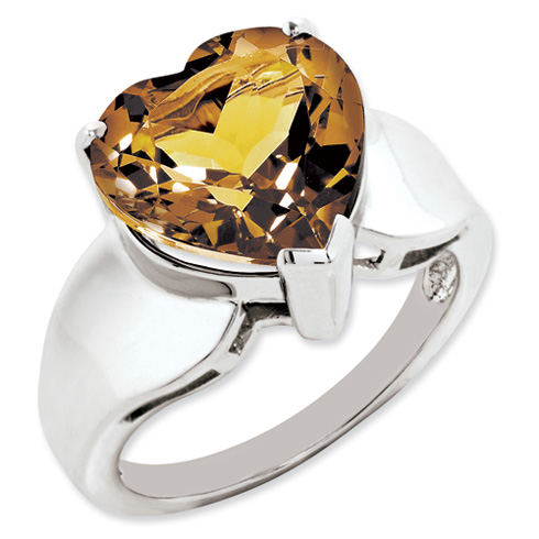 Sterling Silver 5.25 ct Whiskey Quartz Heart Ring