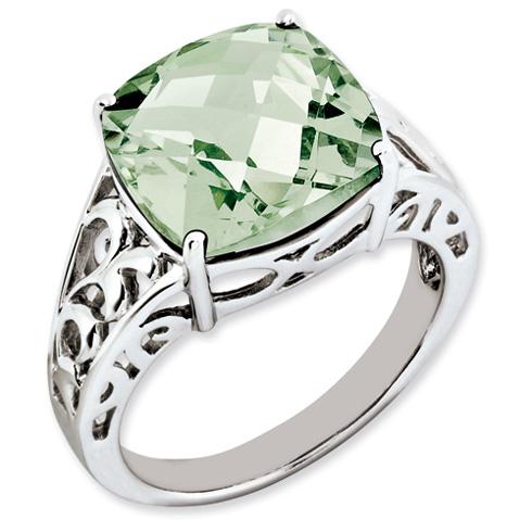 7.4 ct Sterling Silver Green Quartz Ring