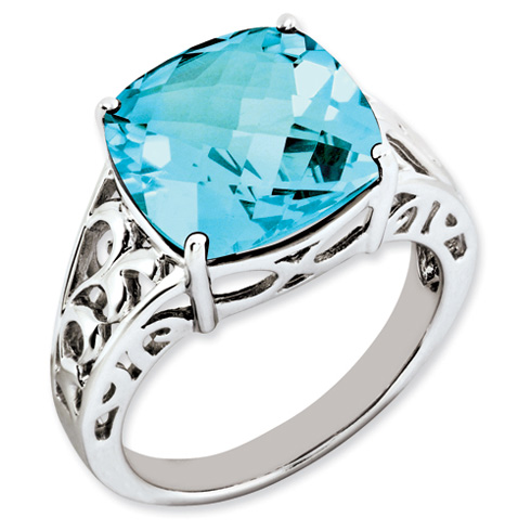 9.3 ct Sterling Silver Light Swiss Blue Topaz Ring