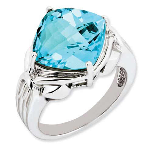9.3 ct Sterling Silver Light Swiss Blue Topaz Ring