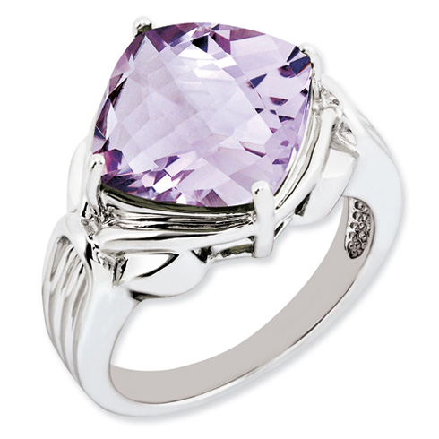 Sterling Silver 7.4 ct Pink Quartz Ring