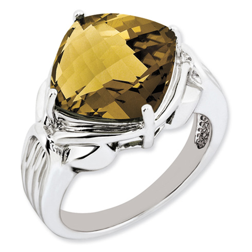 Sterling Silver 7.4 ct Whiskey Quartz Ring
