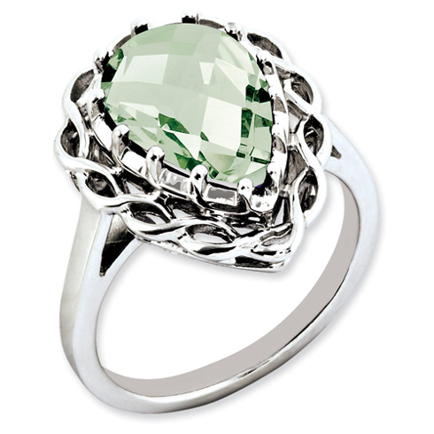 4.25 ct Sterling Silver Green Quartz Ring