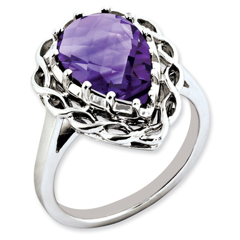 4.25 ct Sterling Silver Amethyst Ring