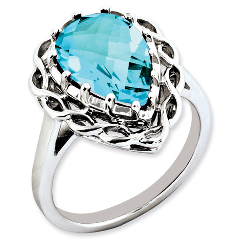 5.4 ct Sterling Silver Light Swiss Blue Topaz Ring